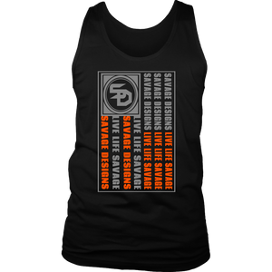Savage Designs Flag Grey/Orange Tank Top- 10 Colors