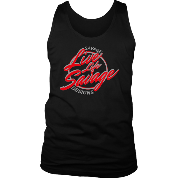 Savage Designs Live Life Savage Calligraphy Red/Grey Tank Top- 7 Colors