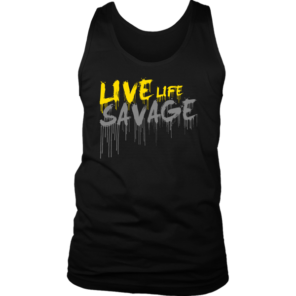Live Life Savage Paint Drip Yellow/Grey Tank Top- 7 Colors