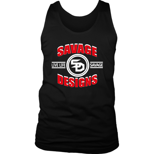 Savage Designs Dead Focus Red/White Tank Top- 6 Colors
