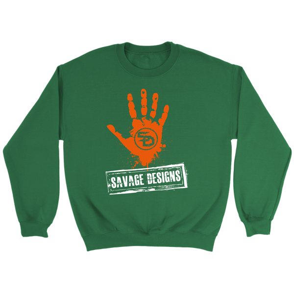 Savage Designs Handprint Stamp Orange/White Sweatshirt- 7 Colors