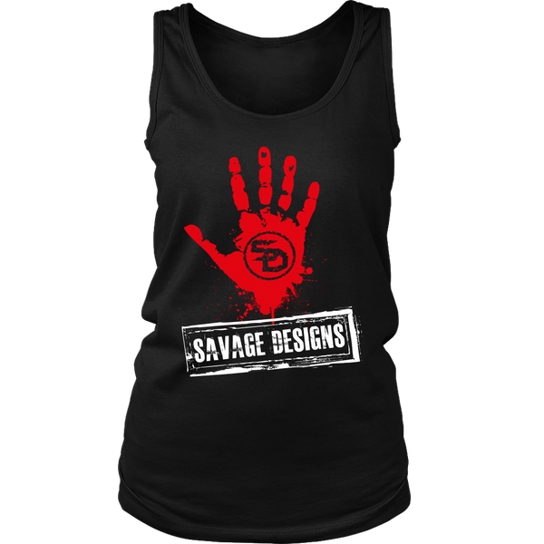 Savage Designs Handprint Stamp Red/White Tank Top- 6 Colors