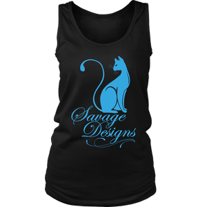 Savage Designs Lady Kitten Turquoise Tank Top- 9 Colors