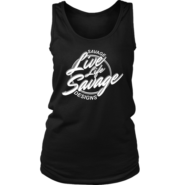 Savage Designs Live Life Savage Calligraphy White/Grey Tank Top- 12 Colors