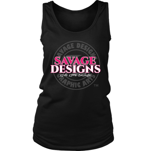Savage Designs Faded Symbol Hot Pink/White/Grey Tank Top- 5 Colors