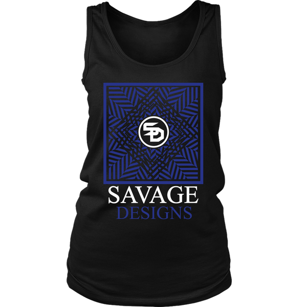 Savage Designs Optical Illusion Royal Blue/White Tank Top- 3 Colors