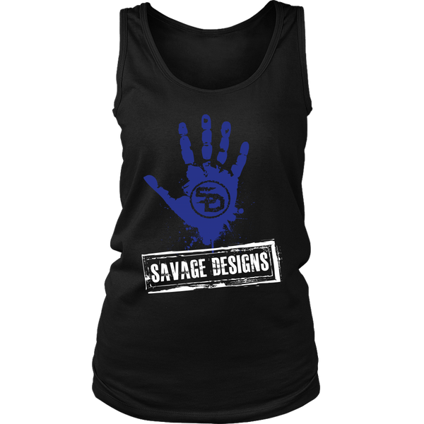 Savage Designs Handprint Stamp Royal Blue/White Tank Top- 9 Colors