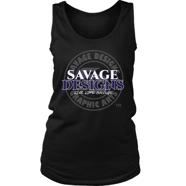 Savage Designs Faded Symbol White/Navy/Grey Tank Top- 8 Colors
