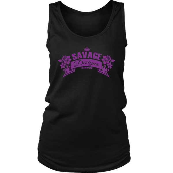 Savage Designs Royal Blossom Purple Tank Top- 10 Colors