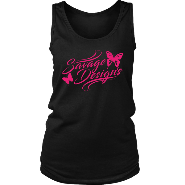Savage Designs Butterfly Elegance Hot Pink Tank Top- 9 Colors