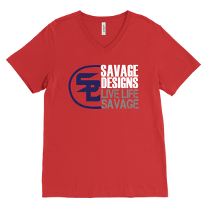 Savage Designs Sliced Up Navy/White/Grey V-Neck- 10 Colors