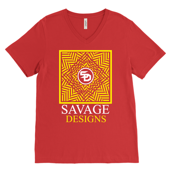 Savage Designs Optical Illusion Yellow/White V-Neck- 13 Colors