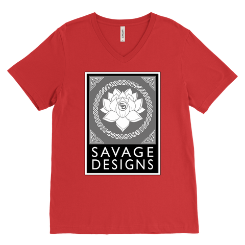 Savage Designs Lotus Flower Grey/White/Black V-Neck- 11 Colors