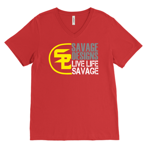Savage Designs Sliced Up Yellow/Grey/White V-Neck- 10 Colors