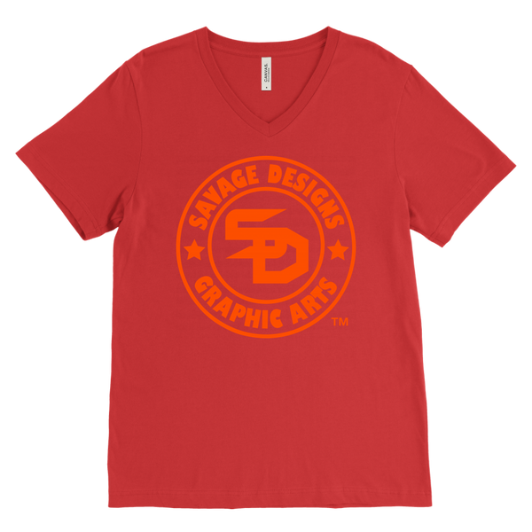 Savage Designs Original Symbol/Live Life Savage Front and Back Print V-Neck- 10 Colors