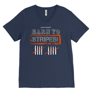 Savage Designs EARN YO STRIPES Grey/Orange/White V-Neck- 8 Colors