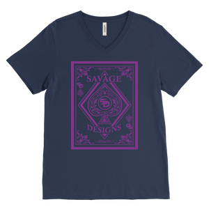 Savage Designs Ace of Spade Purple V-Neck- 6 Colors