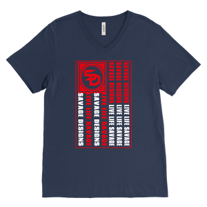 Savage Designs Flag Red/White V-Neck- 10 Colors