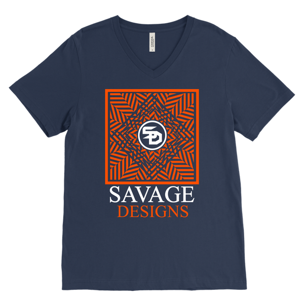 Savage Designs Optical Illusion Orange/White V-Neck- 8 Colors