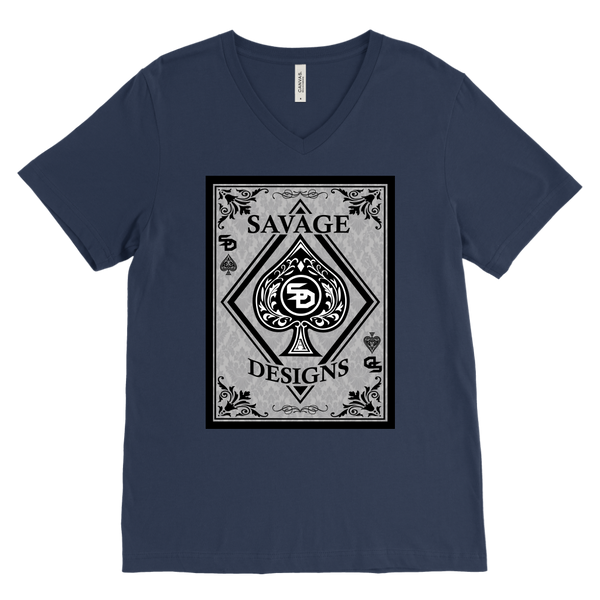 Savage Designs Ace of Spade Black/Grey V-Neck- 13 Colors