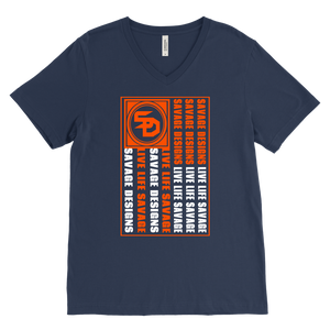Savage Designs Flag Orange/White V-Neck- 9 Colors