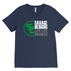 Savage Designs Sliced Up Green/White/Grey V-Neck- 10 Colors