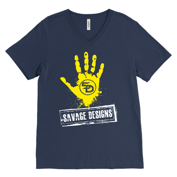 Savage Designs Handprint Stamp Yellow/White V-Neck- 13 Colors