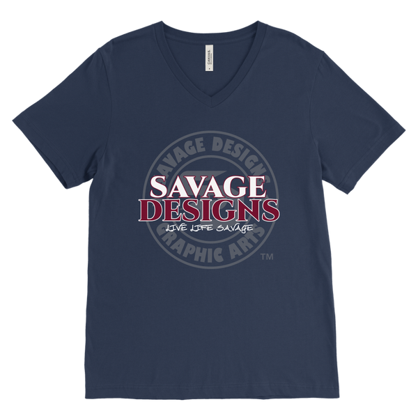Savage Designs Faded Symbol White/Maroon/Grey V-Neck- 9 Colors