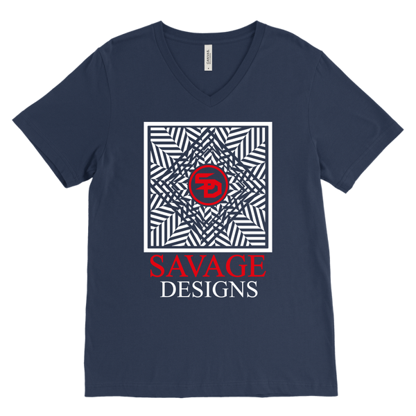 Savage Designs Optical Illusion White/Red V-Neck- 10 Colors