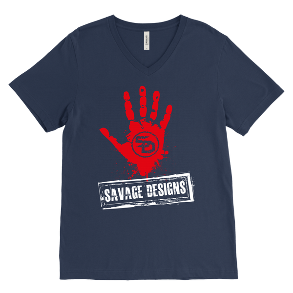Savage Designs Handprint Stamp Red/White V-Neck- 10 Colors