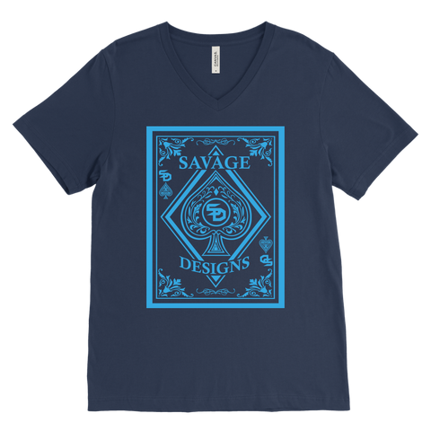 Savage Designs Ace of Spade Turquoise V-Neck- 9 Colors