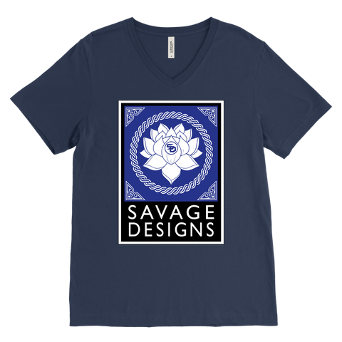 Savage Designs Lotus Flower Royal Blue/White/Black V-Neck- 9 Colors
