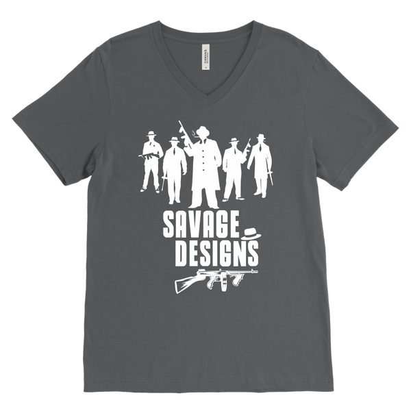 Savage Designs Mob Mafia White V-Neck- 9 Colors