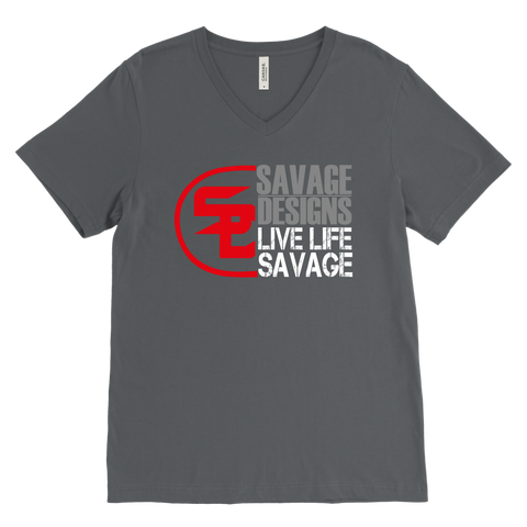 Savage Designs Sliced Up Red/Grey/White V-Neck- 8 Colors