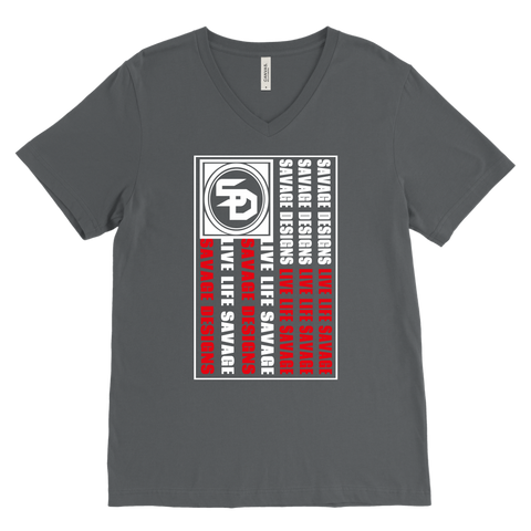 Savage Designs Flag White/Red V-Neck- 10 Colors