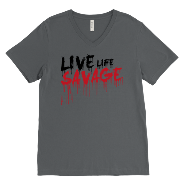 Live Life Savage Paint Drip Black/Red V-Neck- 8 Colors