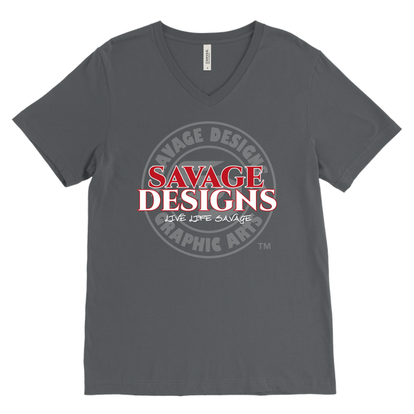 Savage Designs Faded Symbol Red/White/Grey V-Neck- 8 Colors