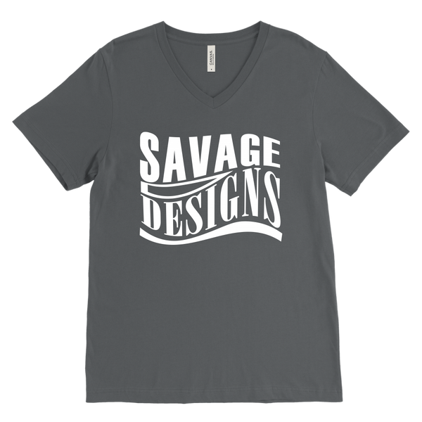 Savage Designs Warped Curve White V-Neck- 11 Colors