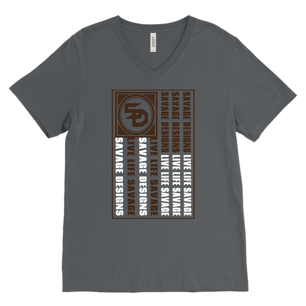 Savage Designs Flag Brown/White V-Neck- 6 Colors