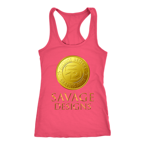 Savage Designs Gold Coin Medallion Women's Racerback Tank Top- 8 Colors