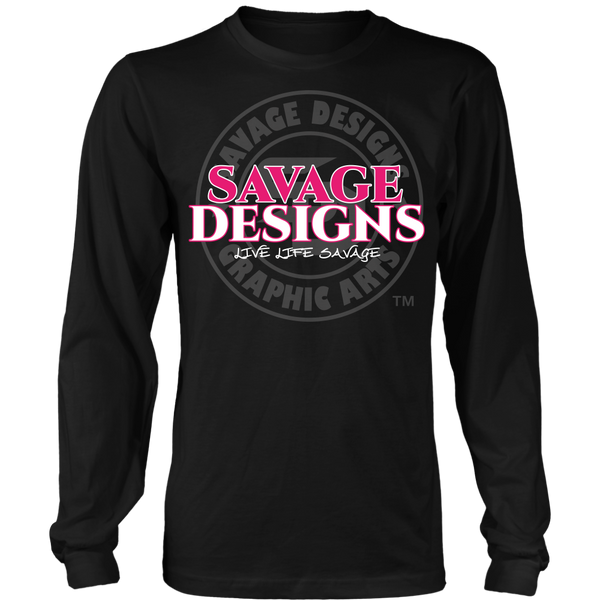 Savage Designs Faded Symbol Hot Pink/White/Grey Long Sleeve- 7 Colors