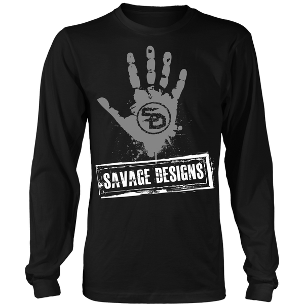 Savage Designs Handprint Stamp Grey/White Long Sleeve- 8 Colors
