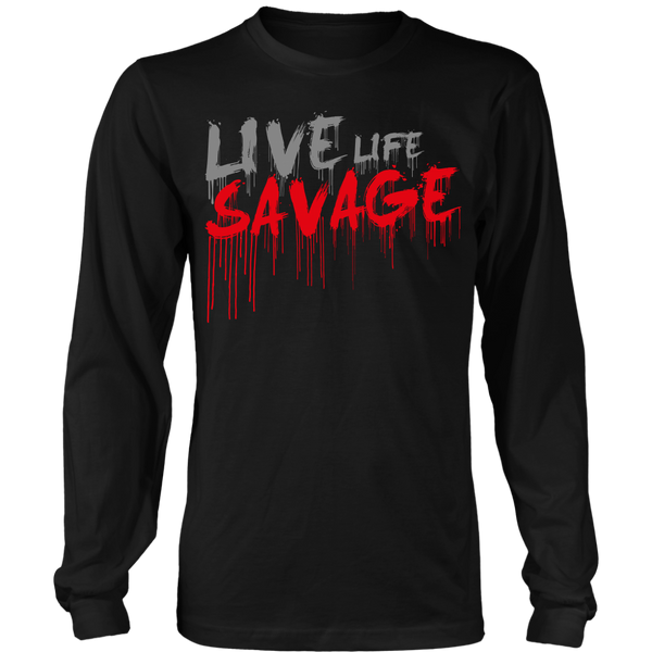Live Life Savage Paint Drip Grey/Red Long Sleeve- 8 Colors