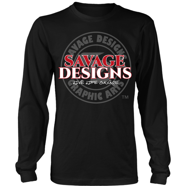 Savage Designs Faded Symbol Red/White/Grey Long Sleeve- 8 Colors