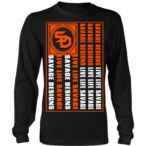 Savage Designs Flag Orange/White Long Sleeve- 9 Colors