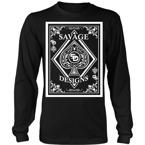 Savage Designs Ace of Spade White Long Sleeve- 11 Colors