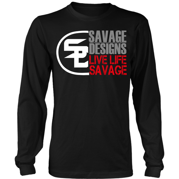 Savage Designs Sliced Up White/Grey/Red Long Sleeve- 8 Colors