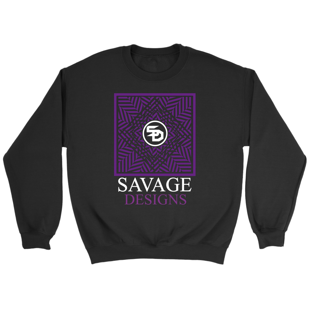 Savage Designs Optical Illusion Purple/White Sweatshirt- 4 Colors