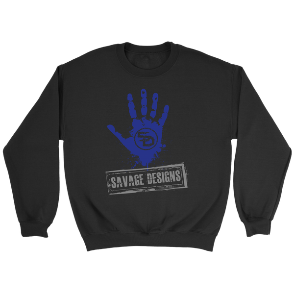 Savage Designs Handprint Stamp Royal Blue/Grey Sweatshirt- 4 Colors