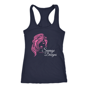 Savage Designs Women's Beauty Pink/White Tank Top- 4 Colors